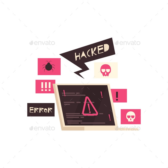 Hacked Computer Error Composition - Computers Technology