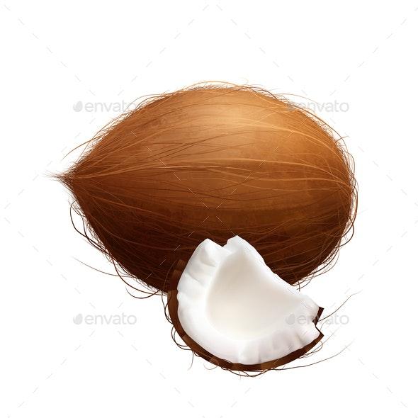 Realistic Coconut Exotic Composition - Health/Medicine Conceptual