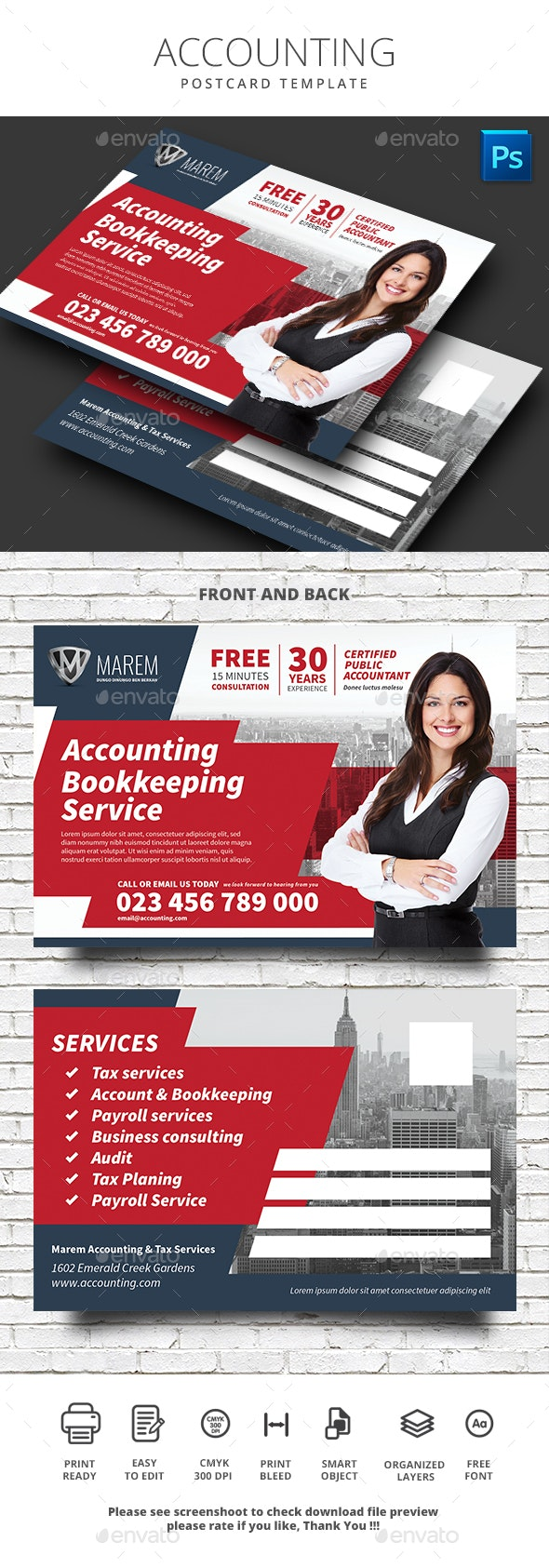 Accounting Service Postcard - Cards & Invites Print Templates