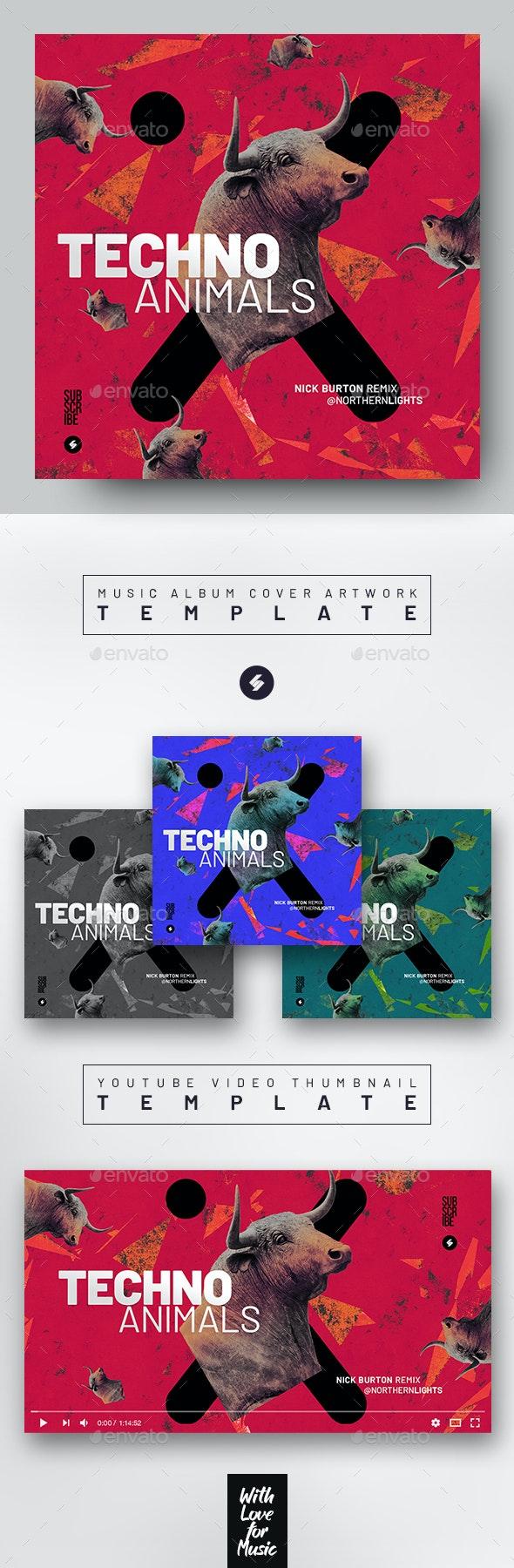 Techno Animals – Music Album Cover Artwork / Video Thumbnail Template - Miscellaneous Social Media