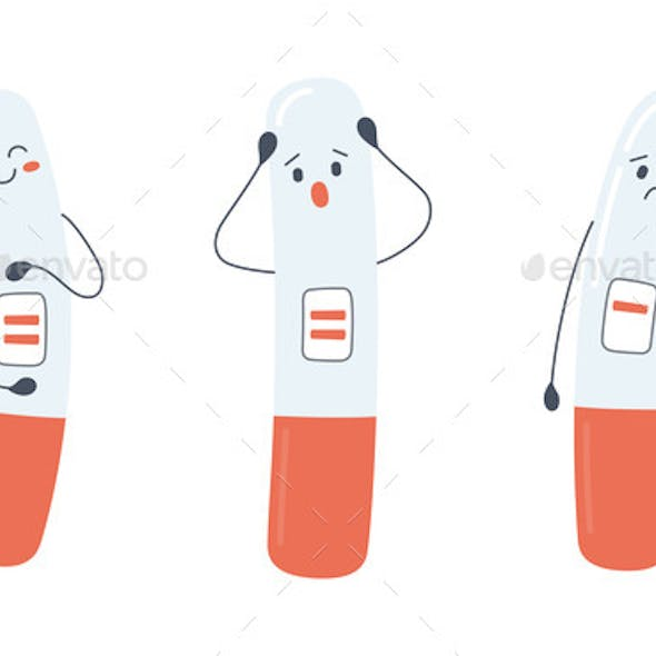 A Set of Pregnancy Test Characters with Positive