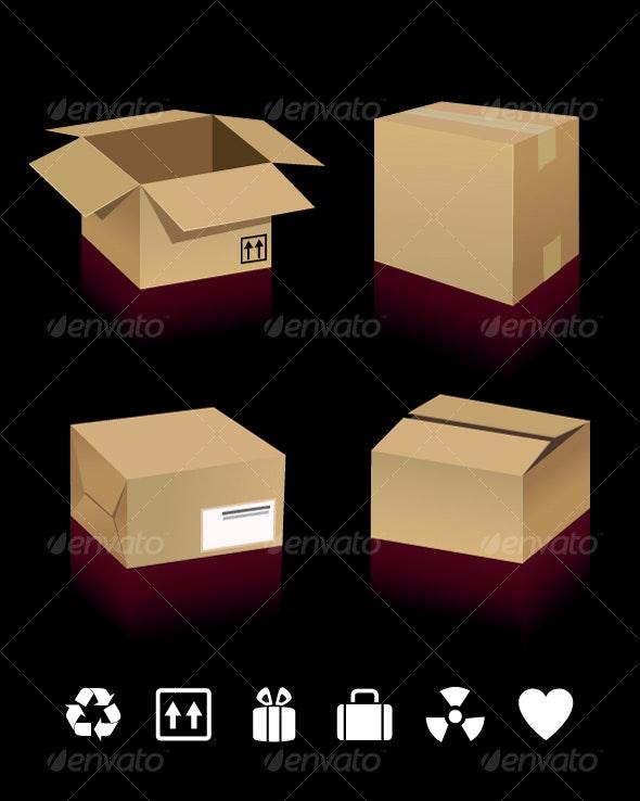 Cardboard Boxes + Bonus Icons - Objects Vectors