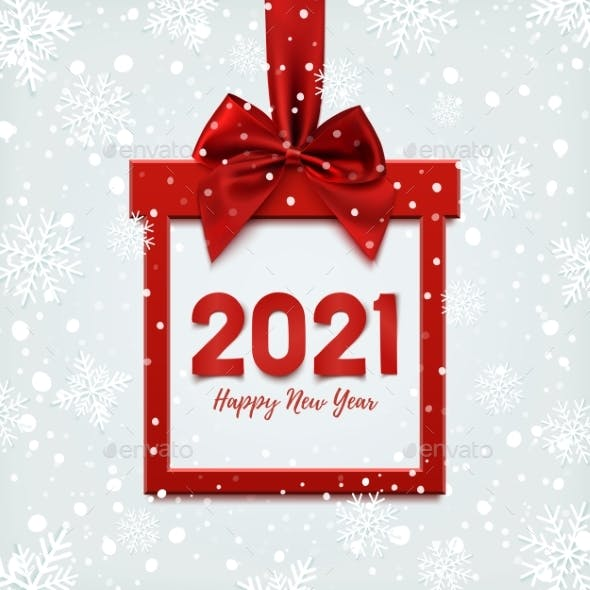 Happy New Year 2021 Design, Square Banner in Form
