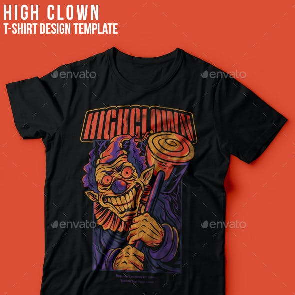 High Clown Halloween T-Shirt Design