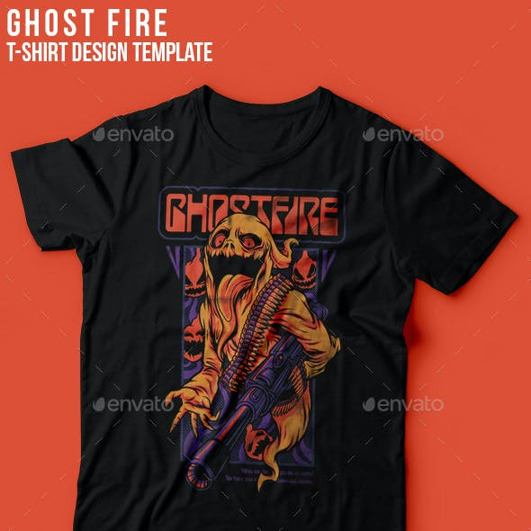 Ghost Fire Halloween T-Shirt Design