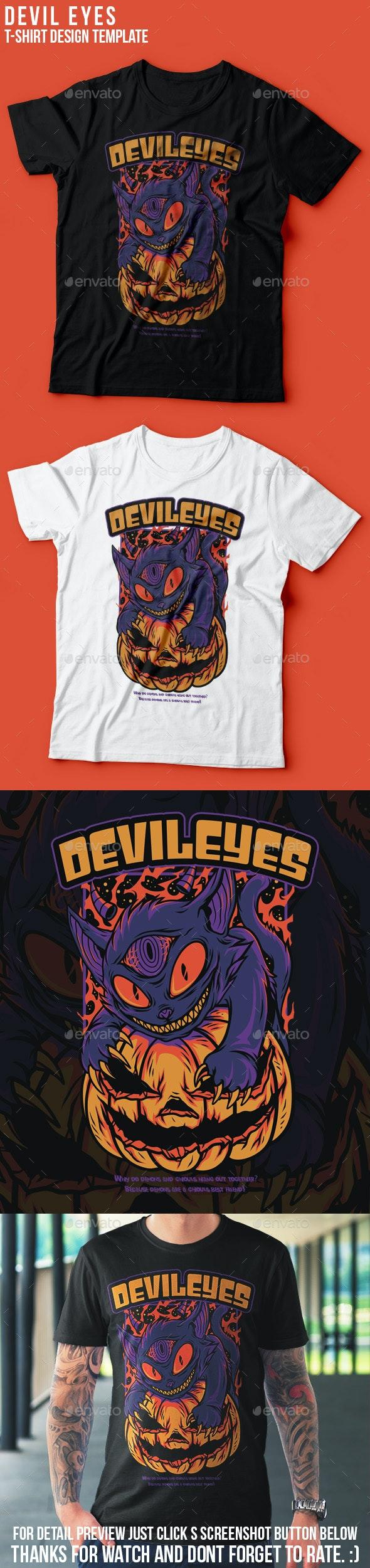 Devil Eyes Halloween T-Shirt Design - Clean Designs
