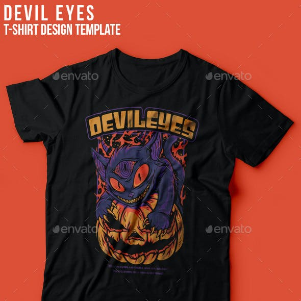 Devil Eyes Halloween T-Shirt Design