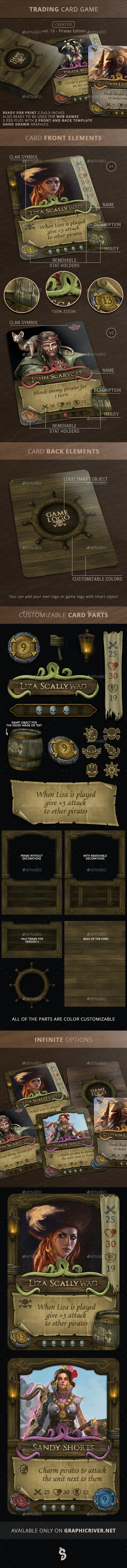 Trading Card Game Creator - Vol 15 - Pirates - Miscellaneous Game Assets