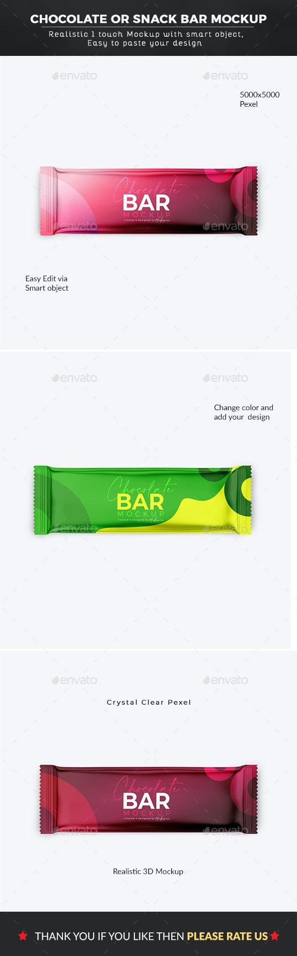 Chocolate Bar Or Snack Bar Mockup - Graphics