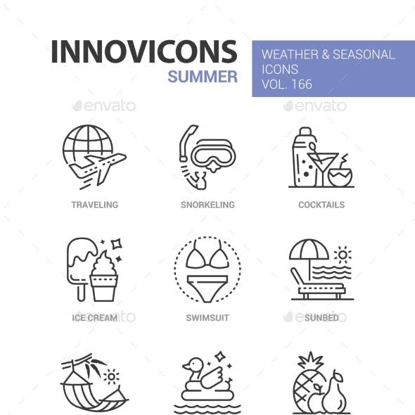 Summer - Modern Line Design Style Icons Set