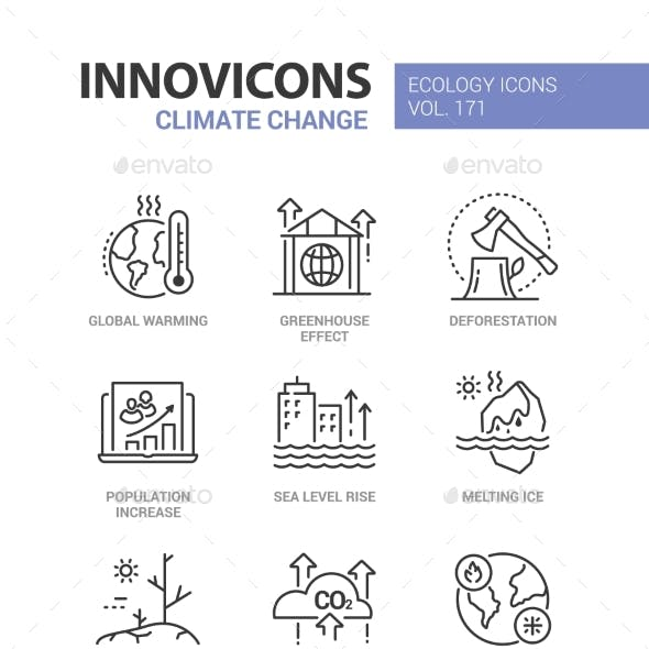 Climate Change - Modern Line Design Style Icons