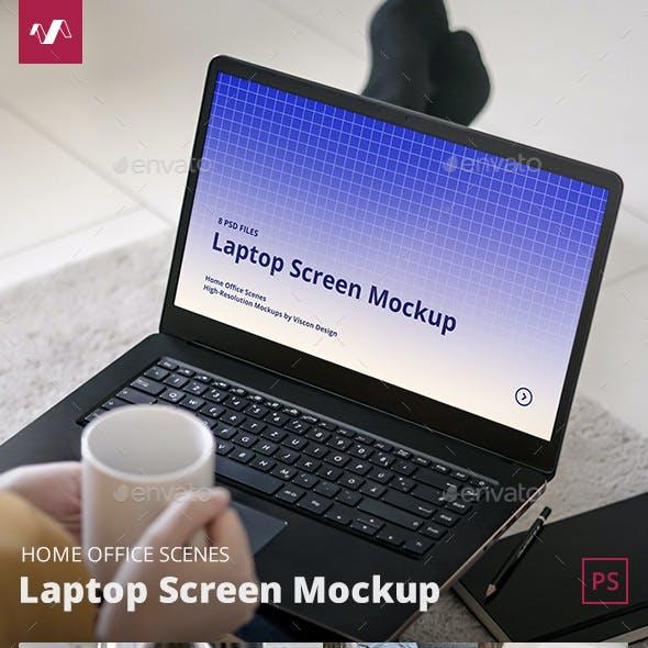 Laptop Mockup Home Office Scenes