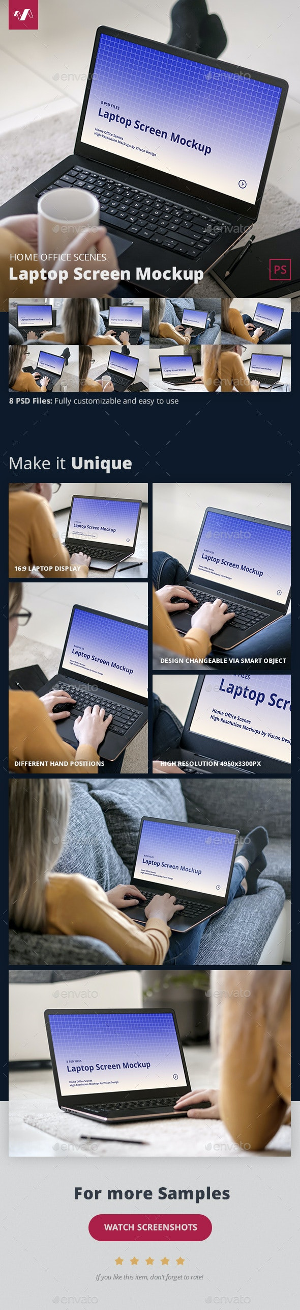 Laptop Mockup Home Office Scenes - Laptop Displays