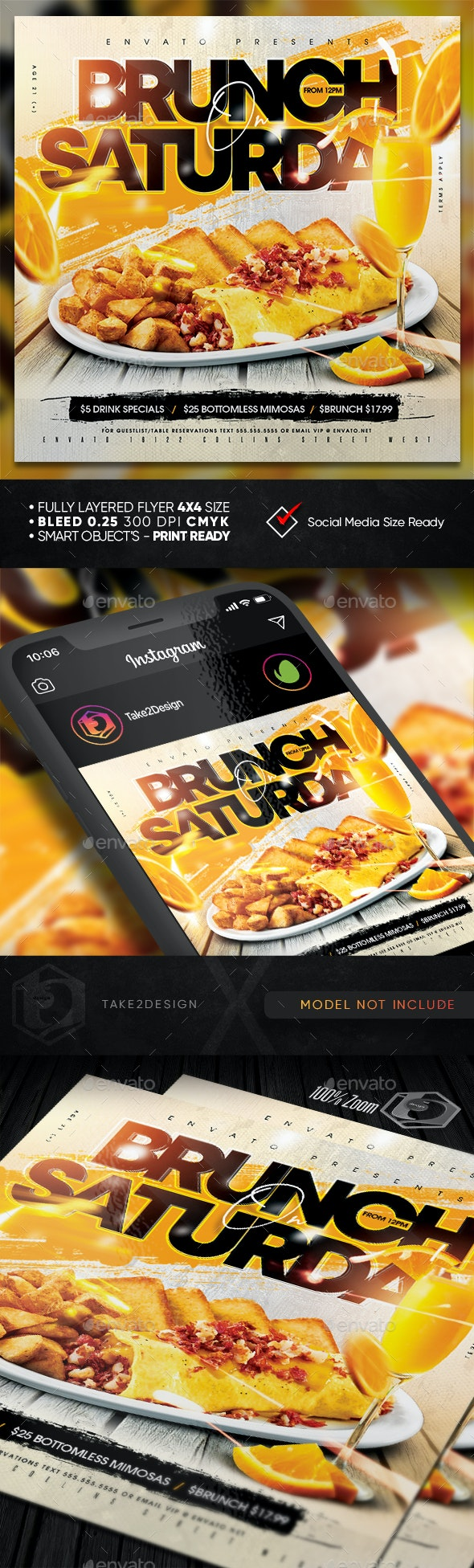 Brunch On Saturday Flyer Template - Clubs & Parties Events