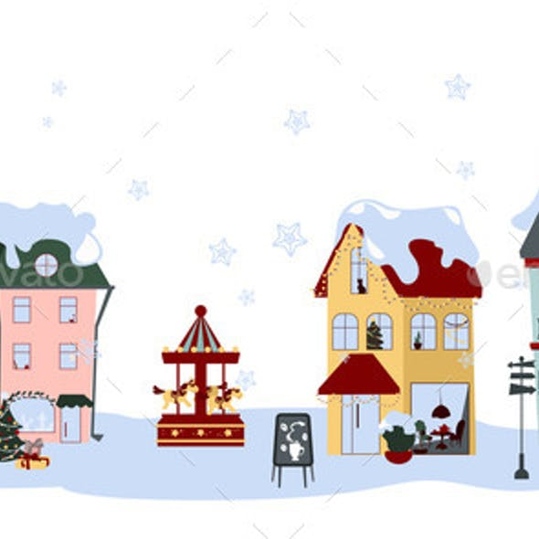 Collection of Colorful Winter Houses