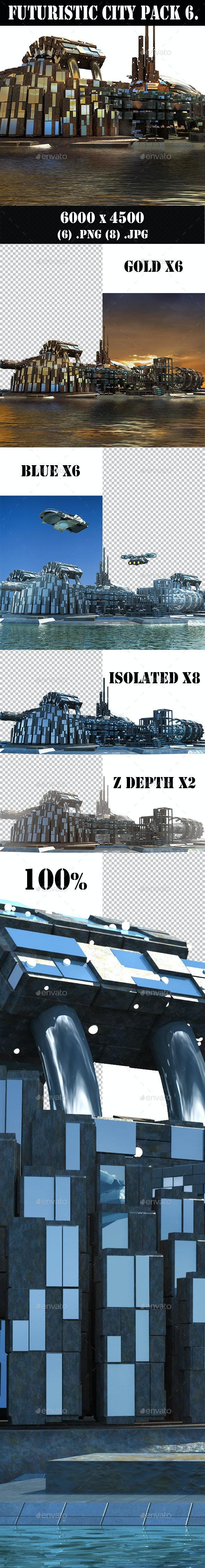 Futuristic City Pack 6. Marina Skyline - Architecture 3D Renders