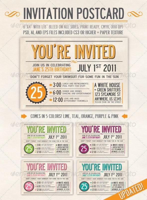 Invitation Postcard - Invitations Cards & Invites