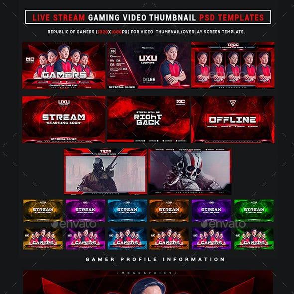 The Gamers Live Stream Gaming Video Thumbnail / Overlay Photoshop Templates