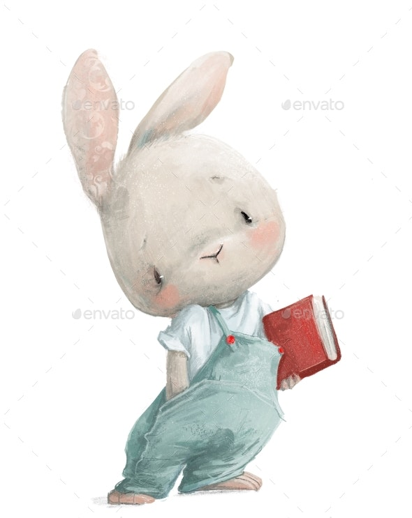 Cute Little White Cartoon Hare with Red Book - Animals Illustrations
