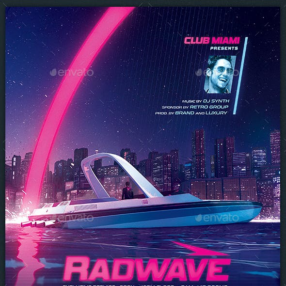 Synthwave Flyer v13 Retrowave 80s Template