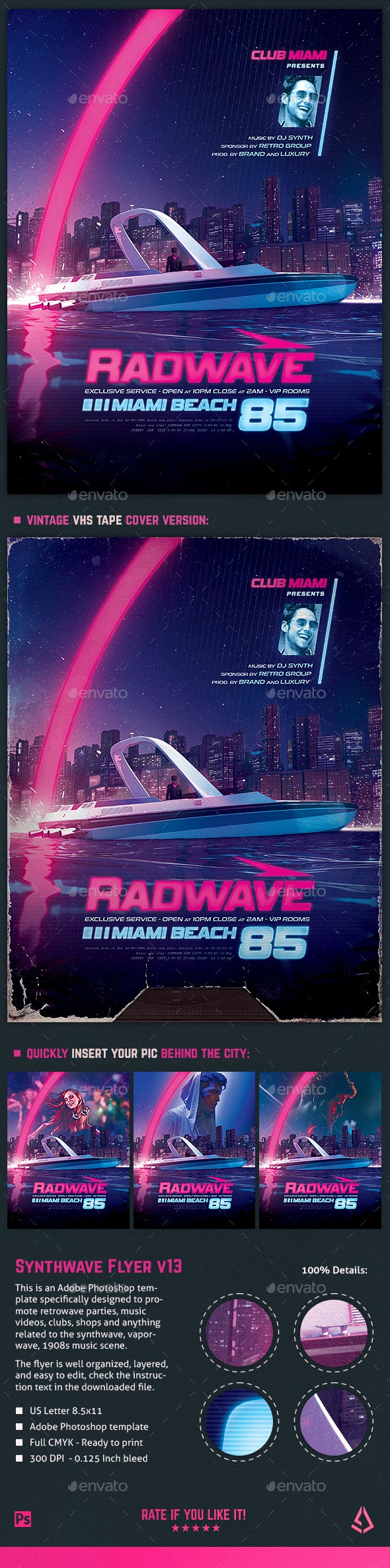 Synthwave Flyer v13 Retrowave 80s Template - Clubs & Parties Events