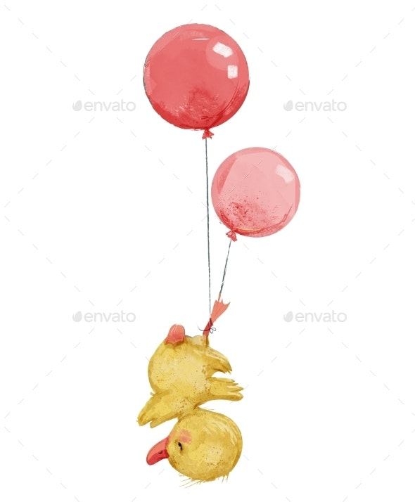Cute Duckling Fly with Balloons - Animals Illustrations