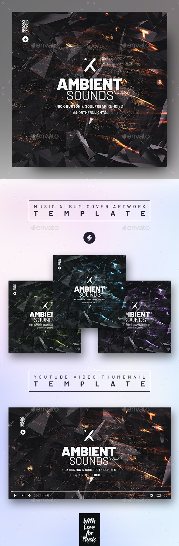 Ambient Sounds vol.3 – Album Cover Artwork / Youtube Thumbnail Template - Miscellaneous Social Media