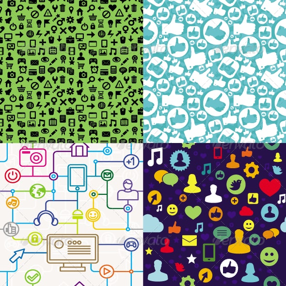 Vector Seamless Patterns with Social Media Icons - Textures / Fills / Patterns Illustrator