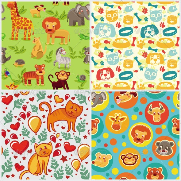 Vector seamless patterns with cartoon animals - Animals Characters