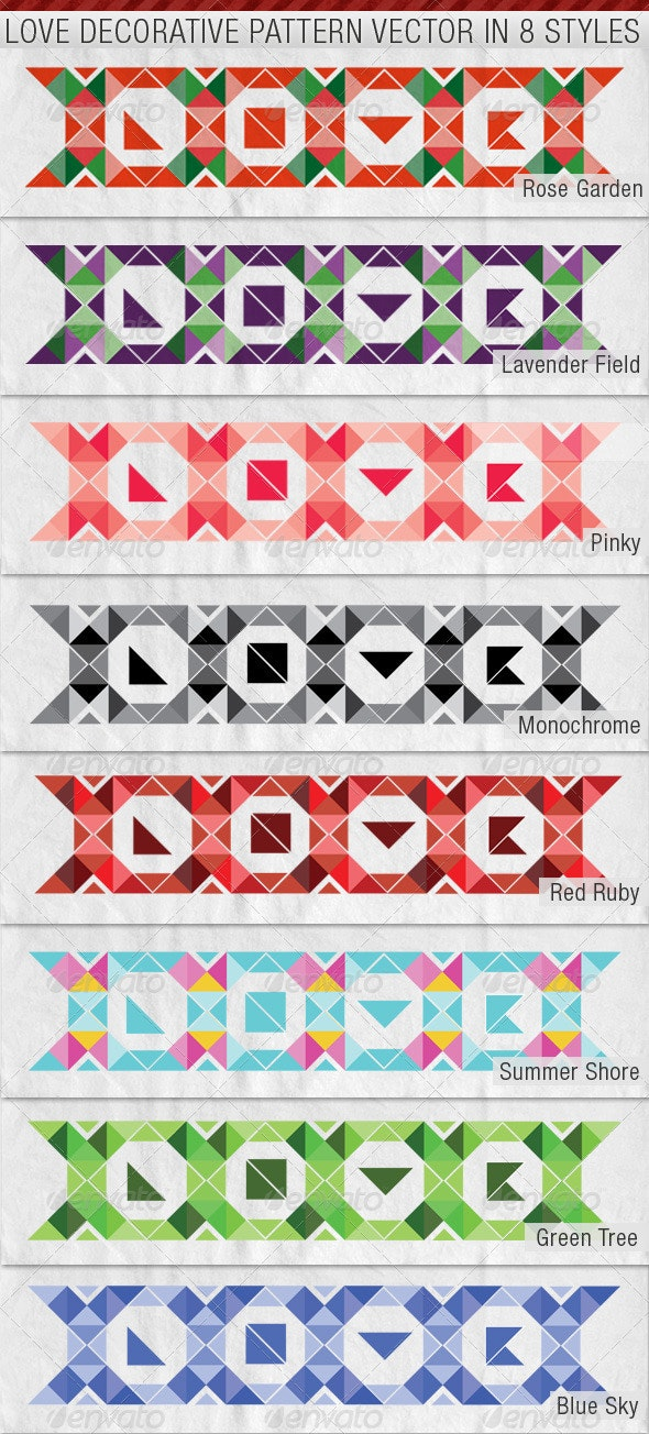 LOVE Decorative Pattern Premium Vector in 8 Styles - Valentines Seasons/Holidays