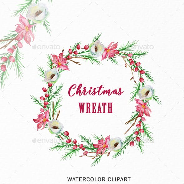 Christmas Wreath Clipart PNG, Watercolor Winter