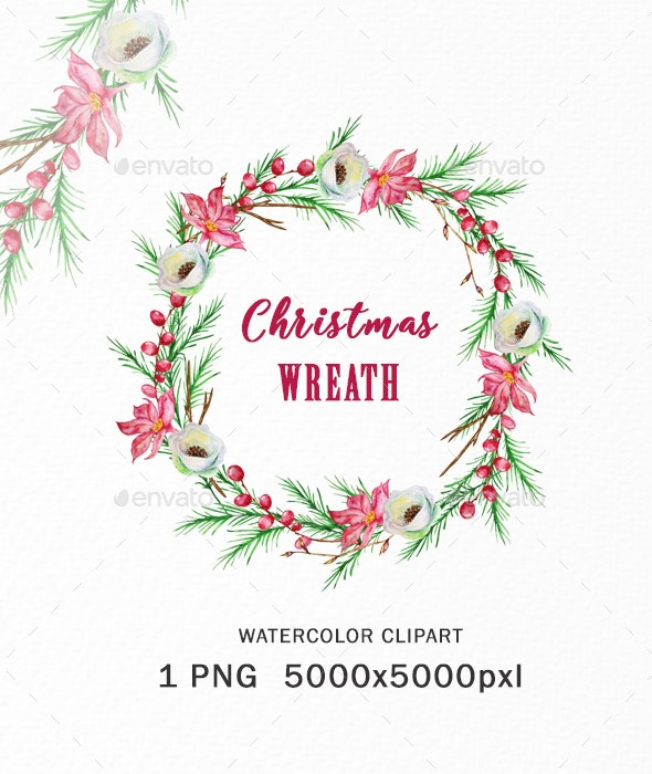 Christmas Wreath Clipart PNG, Watercolor Winter - Objects Illustrations
