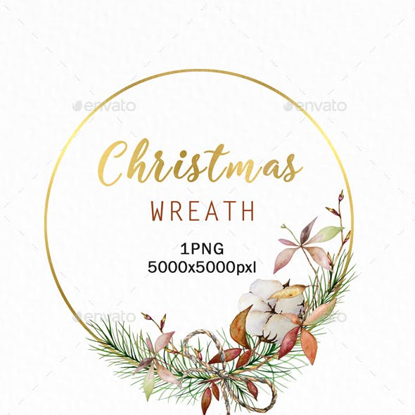 Christmas Wreath Gold Clipart PNG, Watercolor Winter