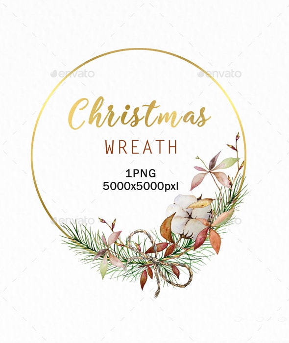 Christmas Wreath Gold Clipart PNG, Watercolor Winter - Objects Illustrations