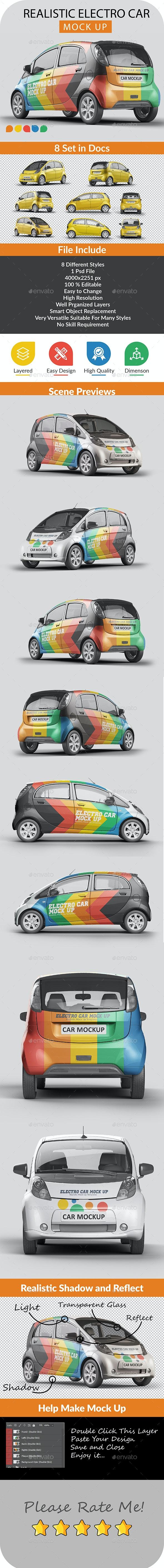 Photorealistic Electro Car Mock Up - 003 - Vehicle Wraps Print