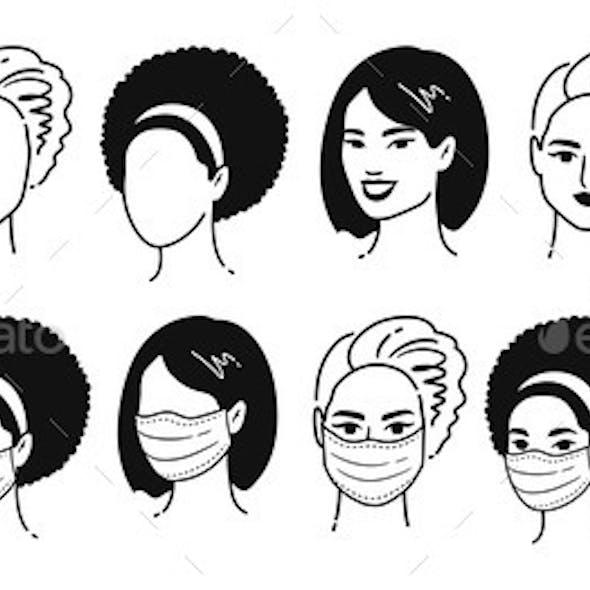 Female Portraits in Medical Masks