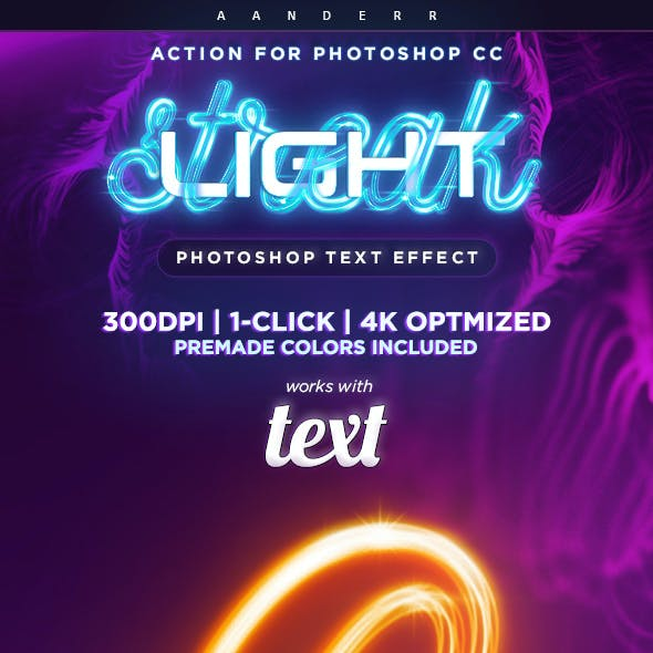 Light Streak Photoshop Action Text Effect