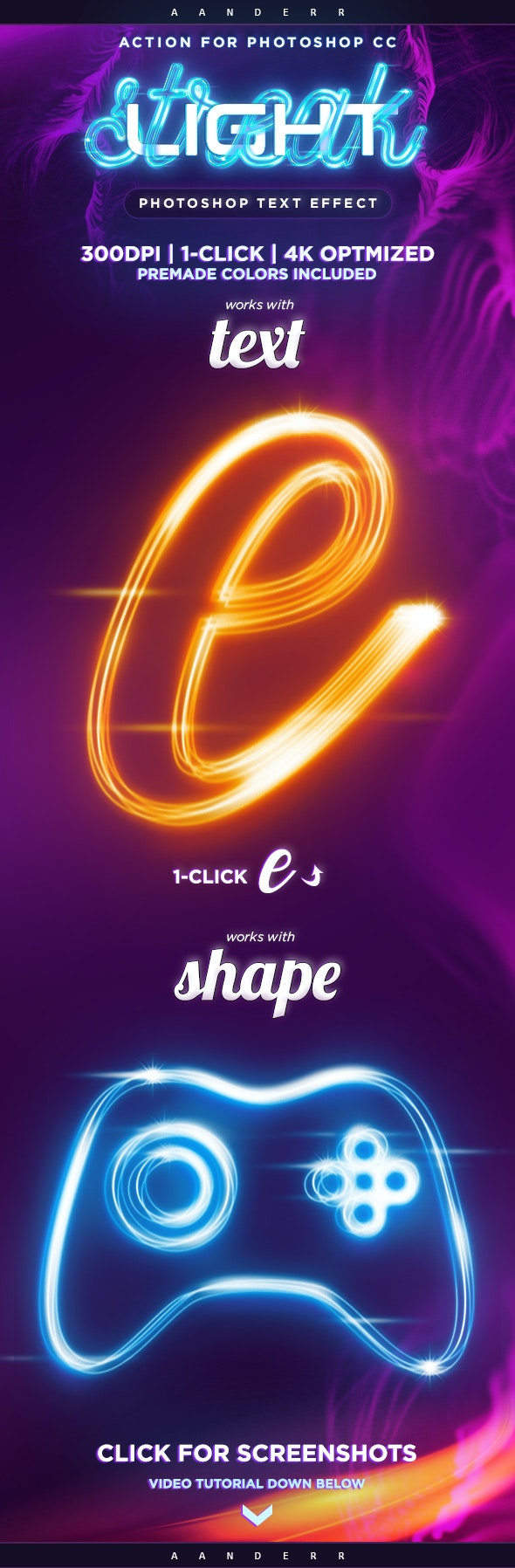 Light Streak Photoshop Action Text Effect - Text Effects Actions