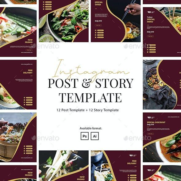 Restaurant Instagram Instagram Post and Story Template
