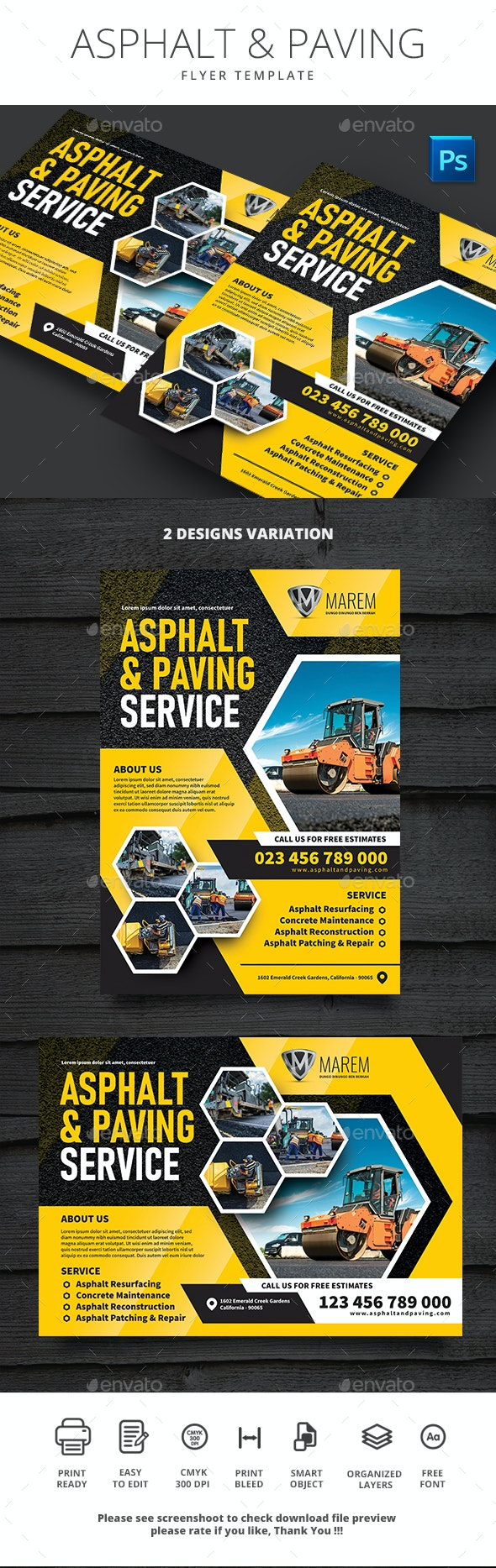 Asphalt and Paving Service - Flyers Print Templates
