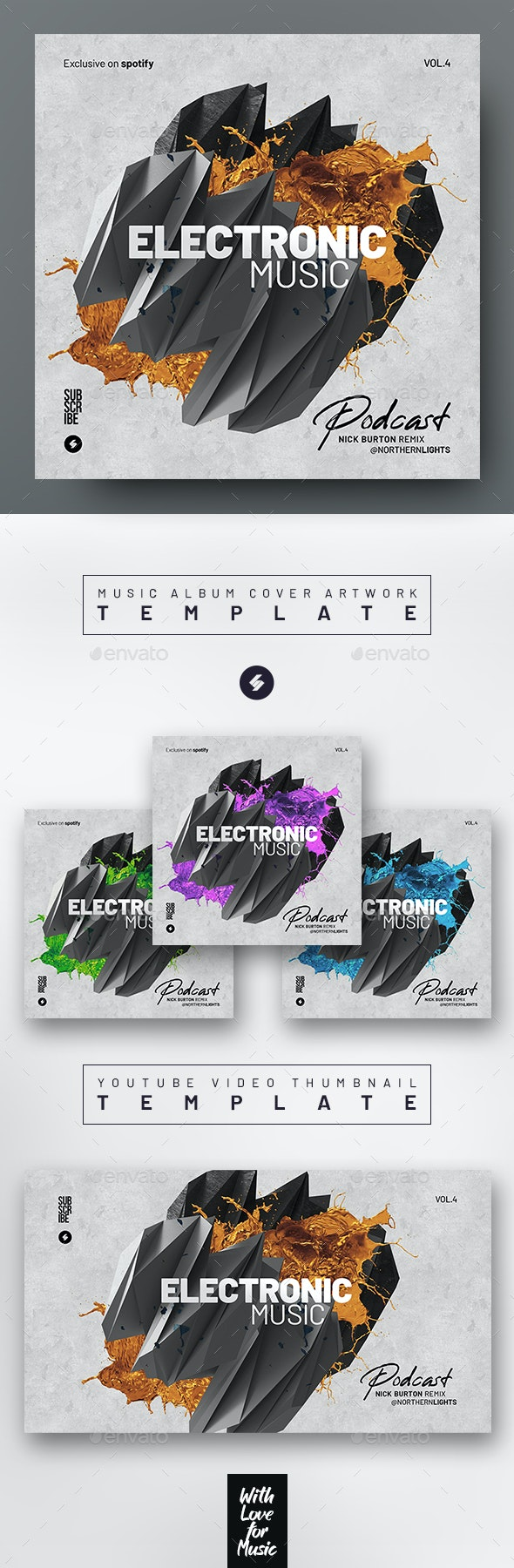Electronic Music Podcast vol.4 – Album Cover Artwork Template - Miscellaneous Social Media