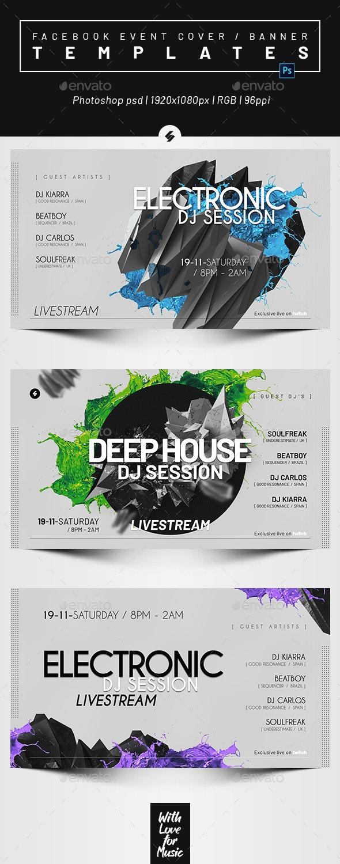Live Stream DJ Session 3 – Facebook Event Cover Templates - Social Media Web Elements
