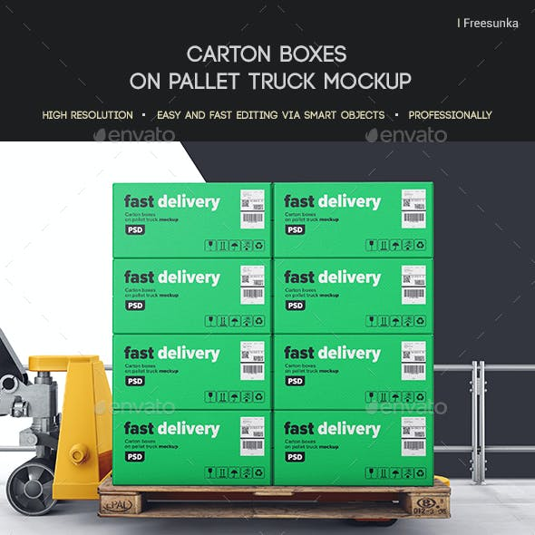 Carton Boxes On Pallet Truck Mockup