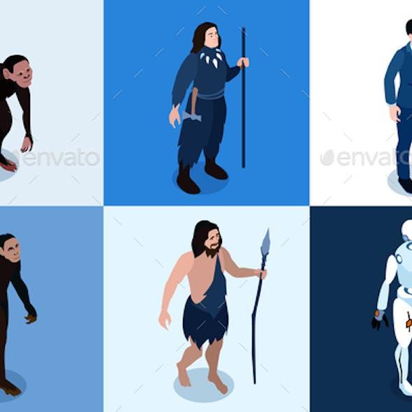 Human Evolution Isometric Square Icons