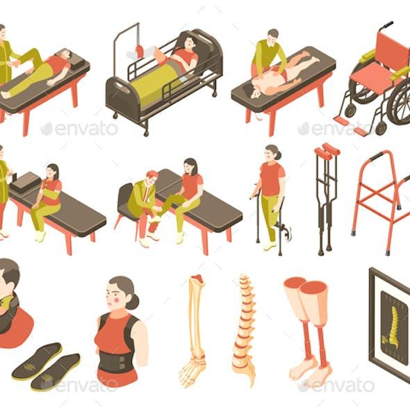 Orthopedics Clinic Isometric Recolor Icon Set