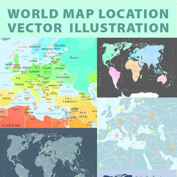 Set of World Maps Editable