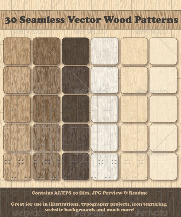 30 Seamless Vector Wood Patterns - Patterns Decorative
