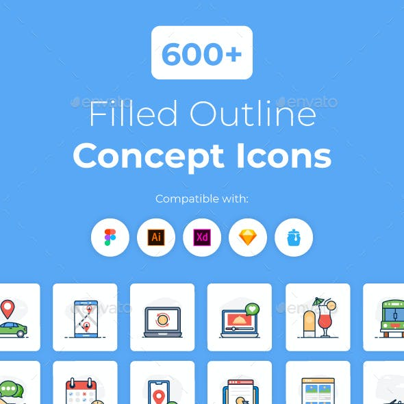 600+ Filled Outline Concept Icons
