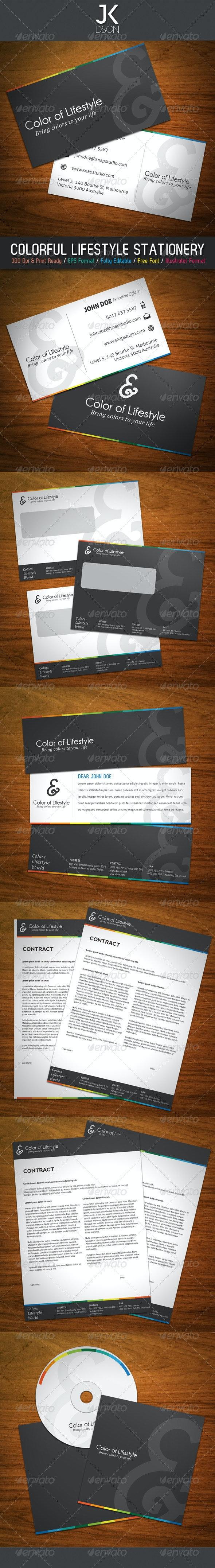 JK Colorful Lifestyles Stationery - Stationery Print Templates