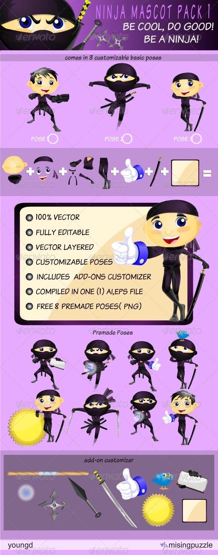 Ninja Mascot Pack 1 - Characters Vectors